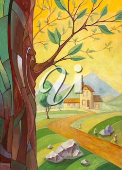 Royalty Free Photo of a Rural Landscape Painting with a House in the Background