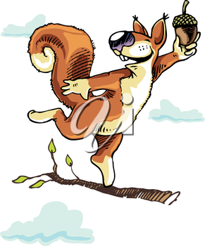 Happy squirrel dancing on the tree branch with the acorn.Editable vector EPS v9.0