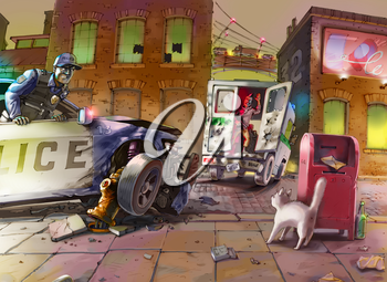 The police car is smashed while chasing the criminal on a stolen armoured vehicle. The policeman is looking angrily at the smiling driving away suspect. Raster illustration.