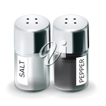 labelled salt and pepper shakers isolated on white