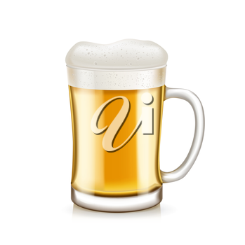 glass of beer with handle isolated on white background