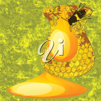 abstract honey in form of jug on green background