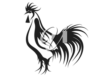 rooster. silhouette of bird isolated on a white background