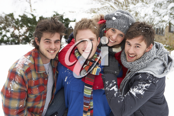 Group of young adults in snow