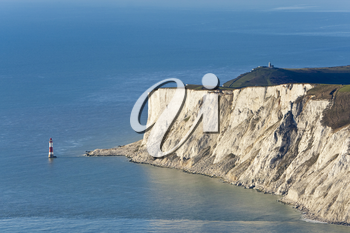 Aerial photograph of the lighthouse and cliffs at Beachy Head, near Eastbourne, East Sussex, England, Great Britain