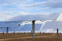 A field of solar mirror panels harnessing the sun's rays to provide renewable alternative green energy