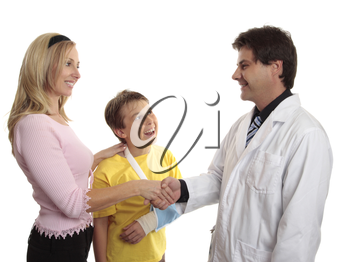 A parent of a hurt child thanks doctor for medical treatment