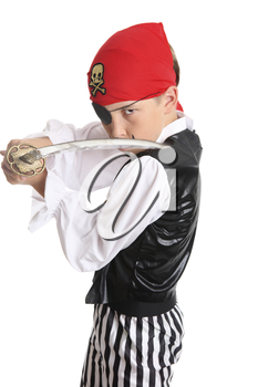 Pirate with a cutlass sword staring his opponent is ready for some fighting action