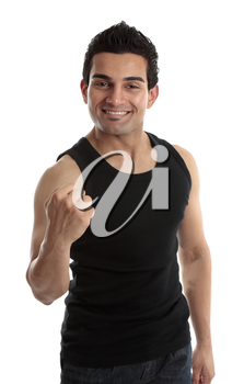 Smiling male builder, fitness instructor or other labourer with a victory fist success.  White background.