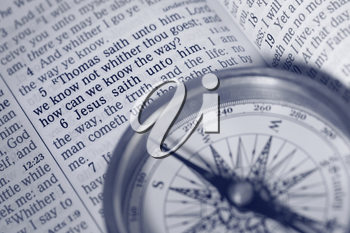 The way of Life - compass, bible and Jesus words to disciple Thomas.