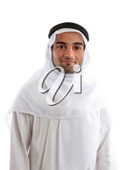 An arab or middle eastern ethnic man smiling.  White background.