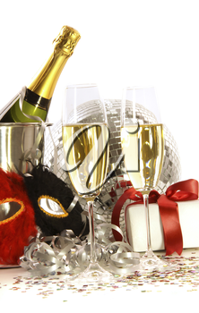 Royalty Free Animation of Champagne and Party Masks