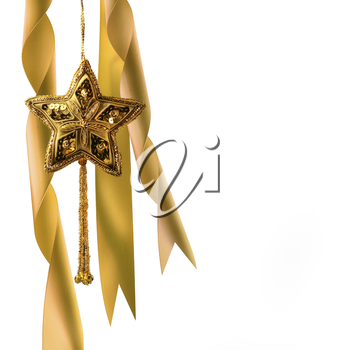 Royalty Free Photo of a Gold Star and Ribbons