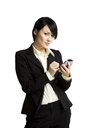 An isolated shot of a businesswoman working with her PDA