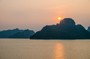 Sunset over mountains and sea, Halong Bay, Vietnam