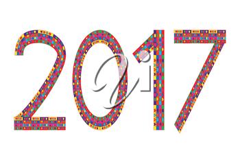 Multi colored numbers of year 2017 on white background