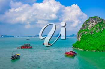 Cruise boats in Halong Bay, Vietnam, Southeast Asia