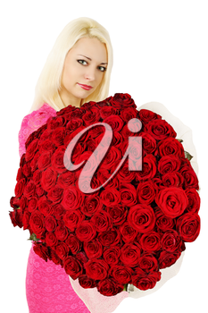 woman is holding a huge bouquet of red roses