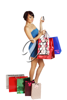 Woman with paper bags and a credit card