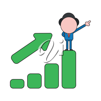 Vector illustration concept of businessman character standing on top of sales bar graph moving up. Color and black outlines.