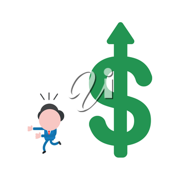 Vector illustration of businessman character running away from big green dollar symbol with arrow moving up.