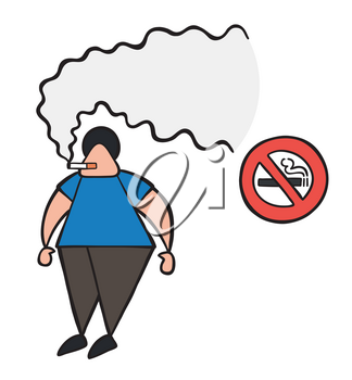 Vector illustration cartoon man character smoking cigarette beside no smoking sign.
