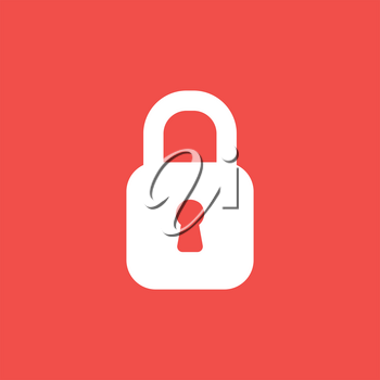 Flat vector icon concept of closed padlock on red background.