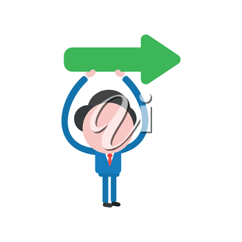 Vector illustration businessman mascot character holding up arrow pointing right way.