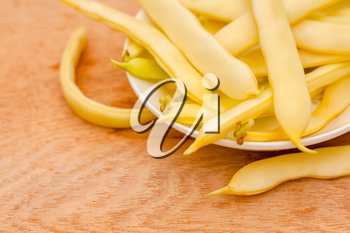 Fresh Yellow Kidney Beans In A Bowl Board Over Wood Background