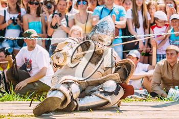 MINSK, BELARUS - JULY 19, 2014: Historical restoration of knightly fights on VI festival of medieval culture Our Grunwald, dedicated to 604 anniversary of Battle of Grunwald in Dudutki