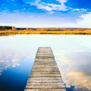 Old Wooden Pier. Calm River Nature Background
