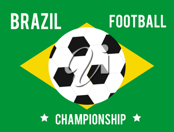 Brazil map in the colors of the flag with soccer ball and text of Brazil football championship 2014