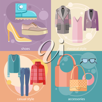 Fashion design clothes and accessories for woman decorative elements icons in flat design style on four multicolor banners