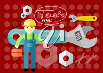 Man, person with toolbox and wrench in hands. Engineer character. Flat icon modern design style concept