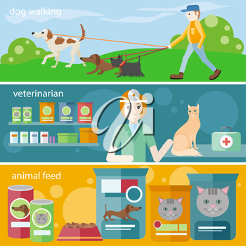 Profession concept with female veterinarian checking heartbeat of orange cat with stethoscope in vet clinic. Man walking with dogs on leash. Pet foods concept on banners in flat design