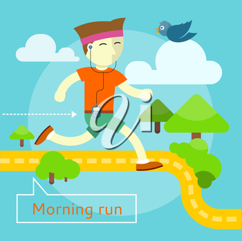 Happy young man on morning run in flat design. Can be used for web banners, marketing and promotional materials, presentation templates