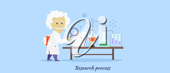 Research process icon flat isolated. Discovery and reaction, chemistry science, processing development, search data and innovation, organization develop, magnifier and invention illustration