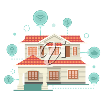 Concept of smart home and control device. Technology device, system mobile automation, monitoring energy power, electricity efficiency, equipment temperature, smart house, remote thermostat