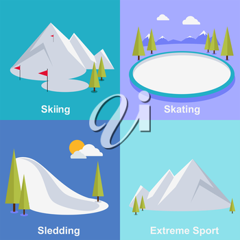 Active winter vacation extreme sports. Sledding and sking, skating and mountain, snow and recreation, travel outdoor, cold and holiday, snowboarder athlete. Extreme sport, sledding, sking, skating