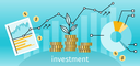 Finance investment concept banner. Graph or chart the growth of financial investment. Business Pie Chart increase in profits money. Metaphor sprout grew on a stack of gold coins. Vector illustration