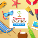 Summer time vacation concept illustration. Leisure on tropical sunny beach banner. Beach slippers, diding mask, chair, drinks, starfish, coconut, photo on sand flat style design vector.