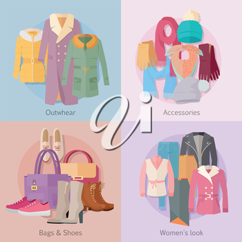 Outerwear accesoiries bags and shoes womens look banner set. Autumn winter collection. Stylish fashionable designers clothes. Best world brand trends. New collection of shoes and outwear models. Vecto