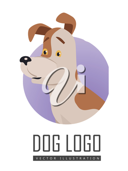 Dog vector logo in flat style. Russell Terrier bust in the blue circle illustration for pet shop, breed club logotype, app icon, animal infogpaphics elements, web design. Isolated on white background