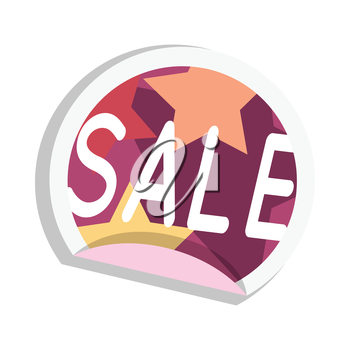 Sale sticker vector illustration. Flat style. Round bright sticker with color stars ant text. For store goods sales and discounts advertising. Product label design. Black friday. On white background