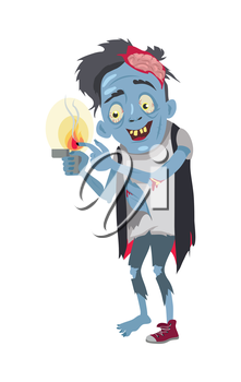 Zombie character isolated. Fictional being burning his finger and smiling. Funny zombie cooking himself. Horror fantasy concept. Halloween science fiction man in flat style. Vector illustration