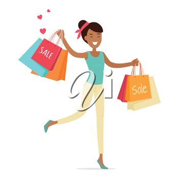 Sale in woman's clothing store. Smiling lady dancing with shopping paper bags in hands flat vector illustration on white background. Black friday. For seasonal sales and discounts, promotions design