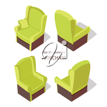 Green armchair vector on four sides in isometric projection. Comfortable furniture  illustration for stores advertising, app icons, infographics, logo, web and games environment design. Isolated on wh