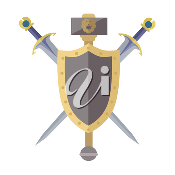 Coat of arms shield with swords vector in flat style design. Cold weapon and armor game models. Illustration for games industry concepts, icons and pictograms. Isolated on white background.