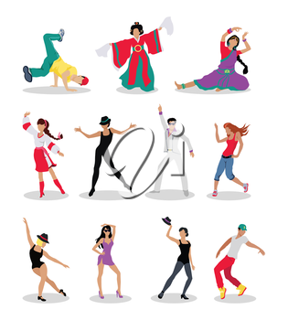 Dancing peoples. Men and women characters in modern and national clothes in different poses vector illustrations set isolated on white background. For app icons, logo, infographics, web design