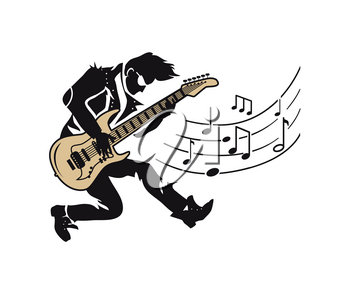 Musician player, guitarist with guitar and notes vector. Professional expert playing electric instrument making sounds. Blues, rock and jazz concert